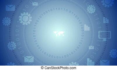 comunicazione globale, blu, tecnologia, video, clip