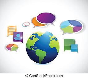 comunicazione, globo, disegno, colorito, illustrazione