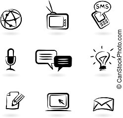 comunicazione, icone, 1