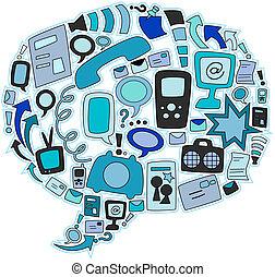 comunicazione, icone
