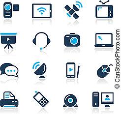 //, comunicazione, icone, azzurro, serie