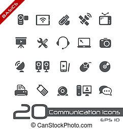 comunicazione, icone, //, basi
