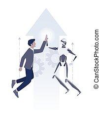 comunicazione, lavorativo, ia, uomo affari, robot, insieme, idea., umano