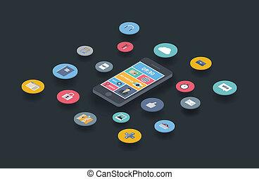 comunicazione mobile, disegno, concetto
