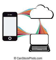 comunicazione mobile, illustrazione tecnologia, telefono