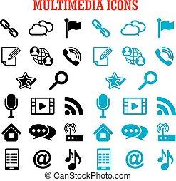 comunicazione, multimedia, appartamento, icone