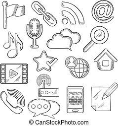 comunicazione, multimedia, sketched, icone