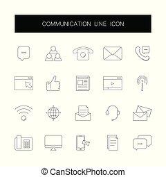 comunicazione, pack., icone, linea, set.