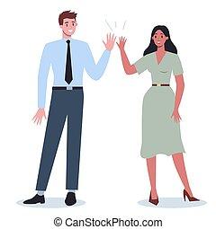 comunicazione, persone affari, idea., donna, uomo