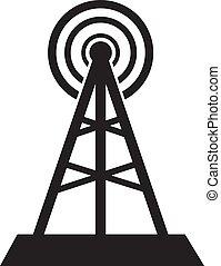 comunicazione, segno., isolato, fondo., torre bianca, icona