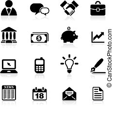 comunicazione, set, affari, icona