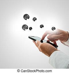 comunicazione, smartphone, concetto, contatto