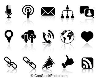 comunicazione, sociale, nero, icone