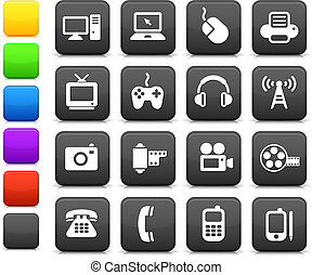 comunicazione, tecnologia, elementi, disegno