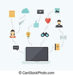 comunicazione, tecnologia moderna, illustrazione, appartamento