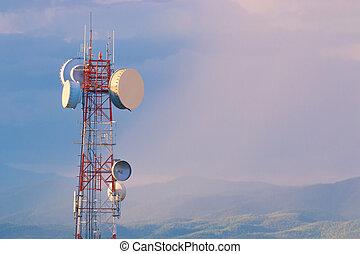 comunicazione, telefonare torre, a, tramonto