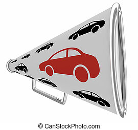 comunicazione, veicolo, 3d, illustrazione, allarme, bullhorn, automobile, megafono, automobile