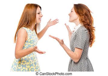 comunicazione verbale, di, emotivo, donna, su, uno, sfondo bianco