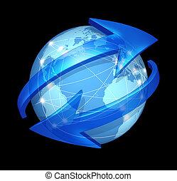 comunicazioni, globale, nero, concetto