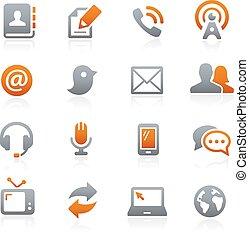 comunicazioni, icone, --, grafite