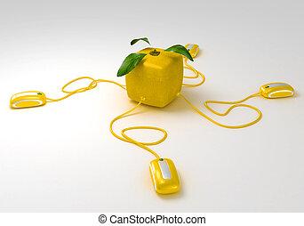 comunicazioni, limone, cubico