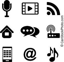 comunicazioni, multimedia, icone