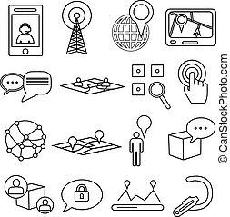 comunicazioni, posizione, icone