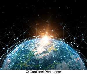 comunicazioni, rete globale, illustrazione, 3d