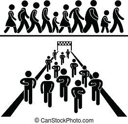 comunidad, caminata, y, corra, pictogram
