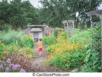 comunidad, corriente, bebé, multicolor, asiático, jardín, ...