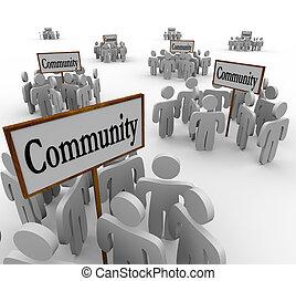 comunidad, gente, reunido, alrededor, señales, a, ilustrar, grupos, de, amigos, vecinos, colegas, compañeros de trabajo, o, otro, individuos, trabajo junto, para ayudar, uno al otro, y, solucionar, problemas