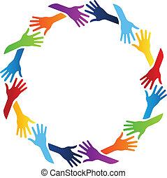 comunidad, manos, círculo