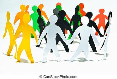 comunidade, de, pessoas, prender, mãos