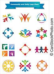 comunidade, e, unidade, logotipo, pacote