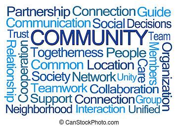 comunidade, palavra, nuvem