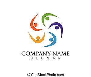 comunidade, pessoas, cuidado, logotipo, vetorial