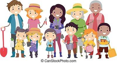 comunidade, stickman, jardim, ilustração
