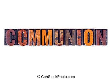 comunione, concetto, tipo, isolato, letterpress