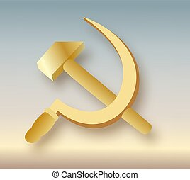 comunismo, cappotto, falcetto, arms., urss, icona martello