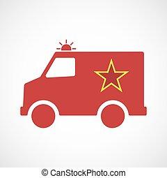 comunismo, estrela, isolado, furgon, ambulância, vermelho,...