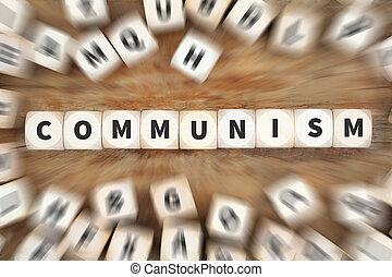 comunismo, socialism, política, financiero, dinero, economía, dados, concepto de la corporación mercantil