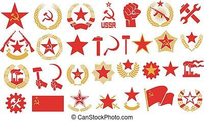 comunismo, y, socialism, vector, iconos, conjunto, (gear, puño, estrella, martillo, hoz, u.r.s.s., estrella, guirnalda, de, trigo, automático, rifle, fábrica, soviético, emblem)