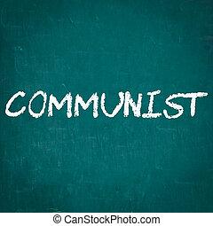 comunista, escrito, pizarra