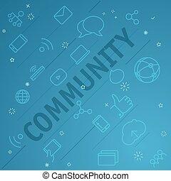 comunità, concept., differente, linea sottile, icone,...