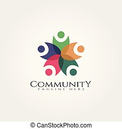 comunità, logotipo, relazione, icona, vettore, disegno