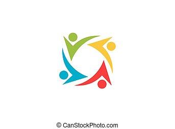 comunità, logotipo, sagoma, cura