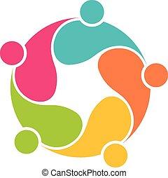comunità, squadra, cerchio, 5, interlacciato