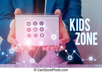 conçu, région, enfants, zone., signe, secteur, jeu, texte, permettre, enjoy., conceptuel, projection, ou, photo, gosses
