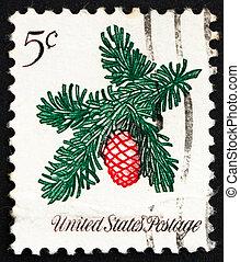 conífera, 1964, estampilla, puntilla, estados unidos de américa, navidad, franqueo