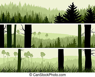 conífero, banderas, colinas, wood.
